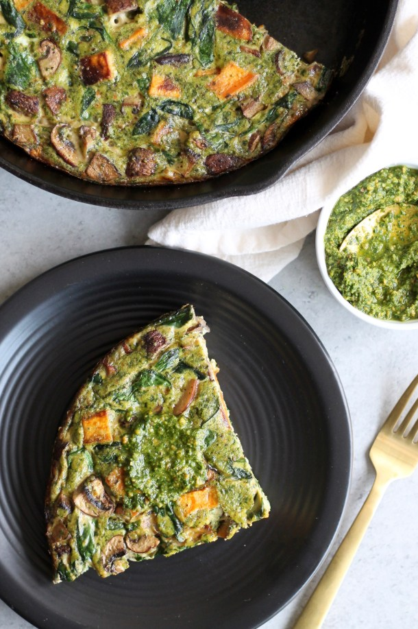 Pesto Mushroom Sweet Potato Spinach Frittata