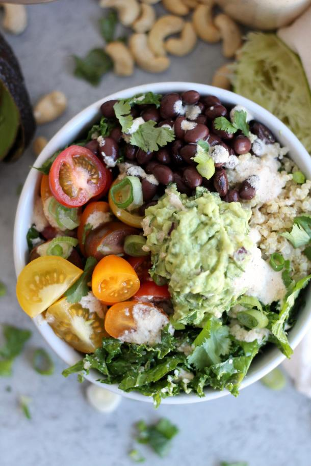 Mexican Kale Salad with Chili Lime Cashew Dressing