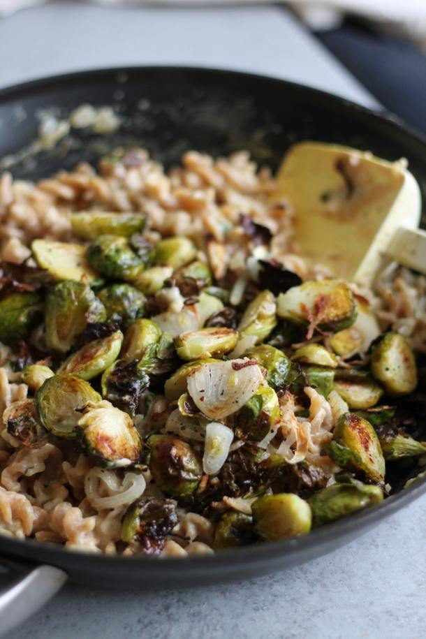 Crispy Brussels and Shallot One Pot Pasta