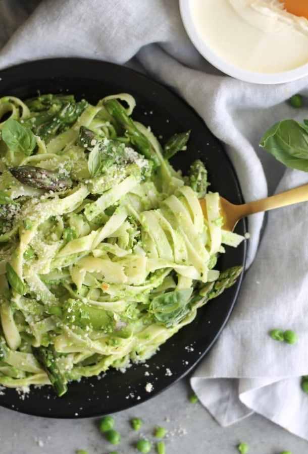 Spring Vegetable Fettuccine with Mascarpone