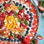 No Bake Vanilla Yogurt Fruit Tart with Cashew Date Crust