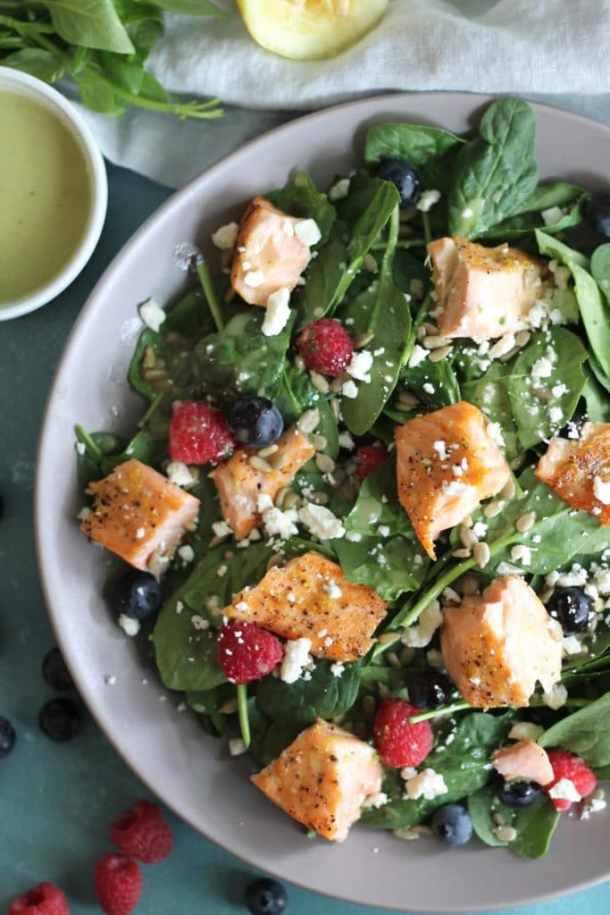 Spinach Power Salads with Salmon and Lemon Honey Basil Vinaigrette