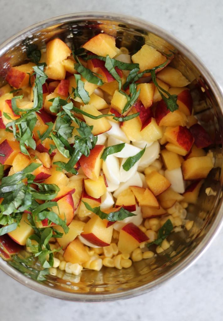 Peach Corn Mozzarella Basil Bruschetta