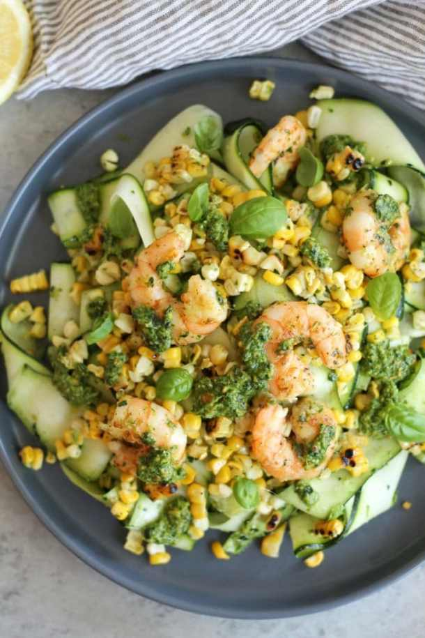 Grilled Corn and Zucchini Salad with Shrimp and Kale Pistachio Pesto