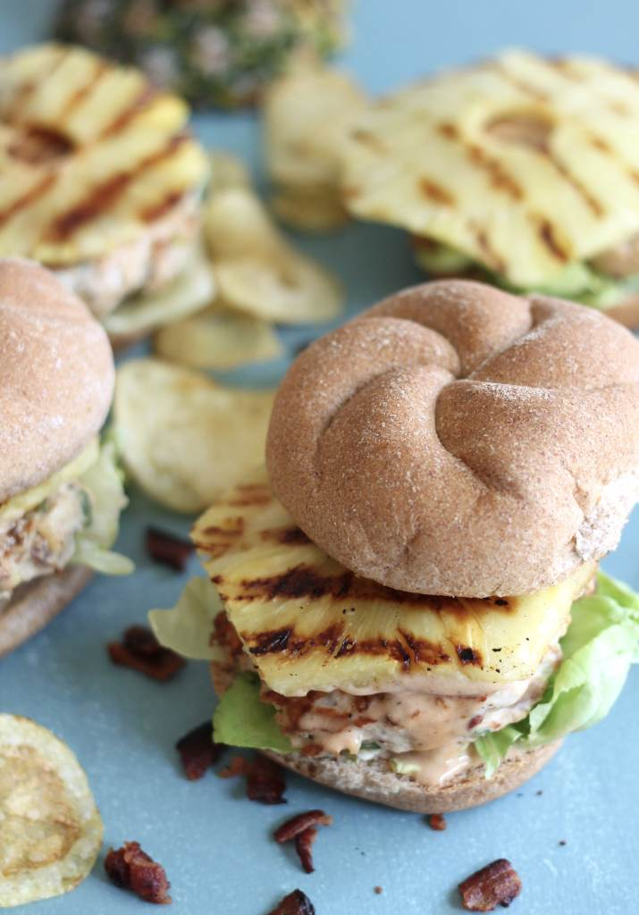 Grilled Pineapple Bacon Chicken Burgers