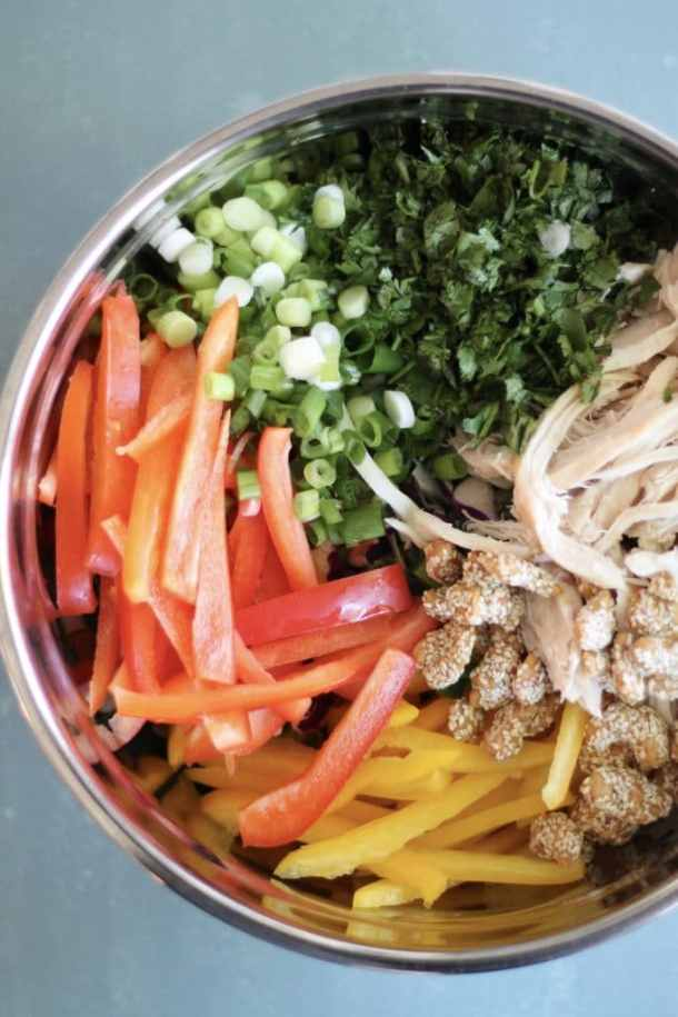 Asian Sesame Slaw Salad with Chicken and Cashew Ginger Dressing