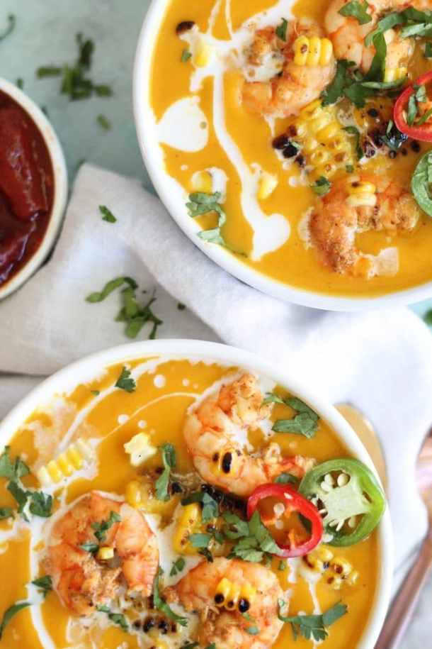 Chipotle Butternut Squash Soup with Grilled Corn and Chili Lime Shrimp
