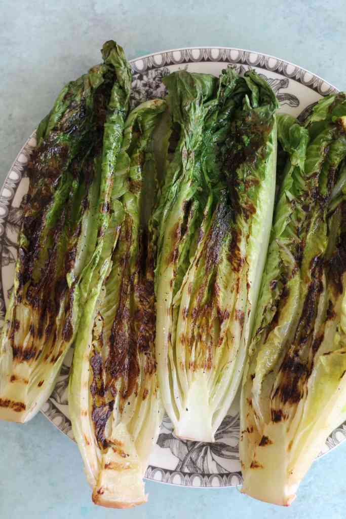 Grilled Romaine Salad with Creamy Lemon Dressing and Garlic Butter Croutons