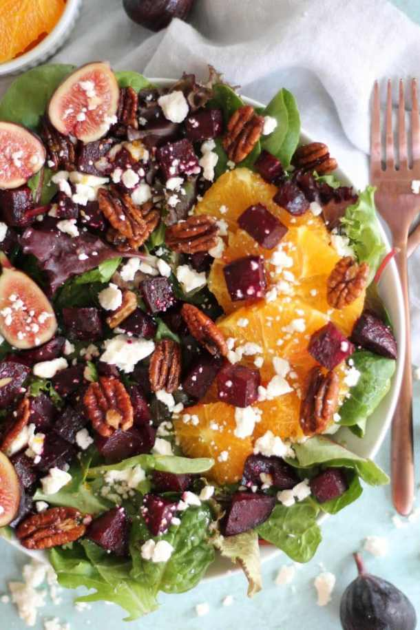 Beet Salad with Figs, Feta, Quick Candied Pecans, and Maple Orange Dressing