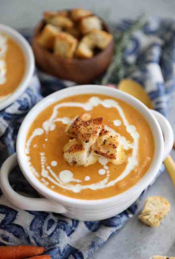Carrot and Potato Soup with Rosemary Garlic Croutons