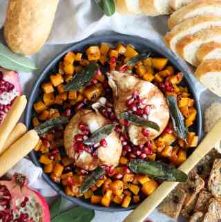 Burrata with Maple Roasted Butternut Squash, Pomegranate Balsamic Glaze, and Crispy Sage