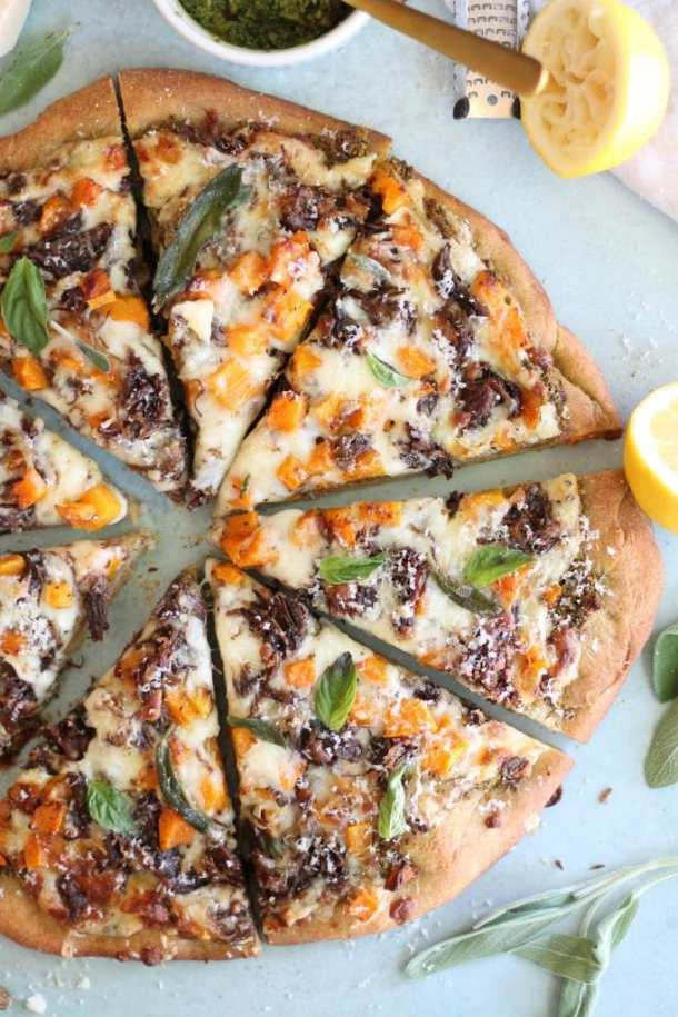 Short Rib Butternut Squash Pizza with Sage Pistachio Pesto