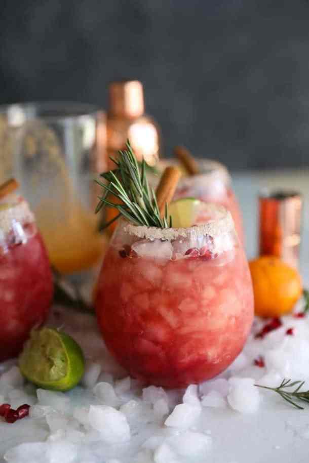 Pomegranate Rosemary Clementine Margaritas