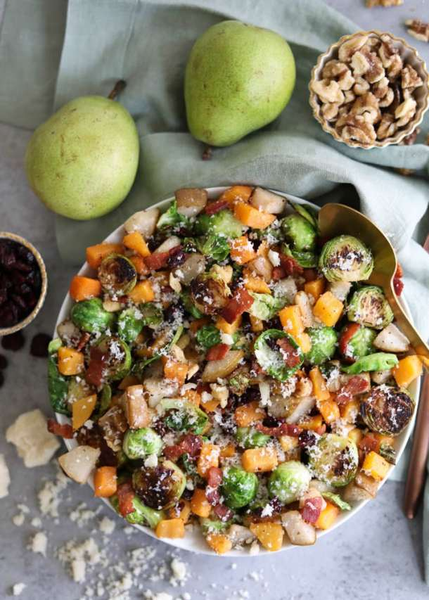 Parmesan Bacon Brussels Sprouts with Roasted Pears and Butternut Squash