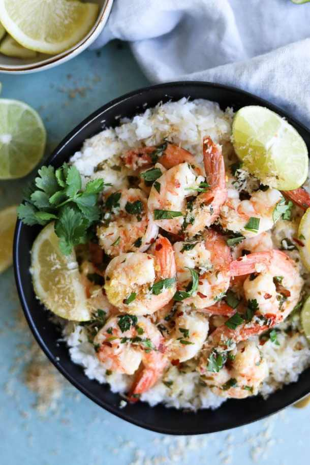 Garlic Butter Shrimp with Toasted Coconut Rice