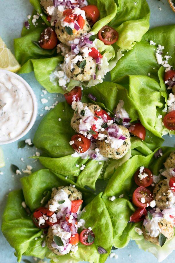 Greek Turkey Meatball Lettuce Wraps with Easy Tzatziki Sauce