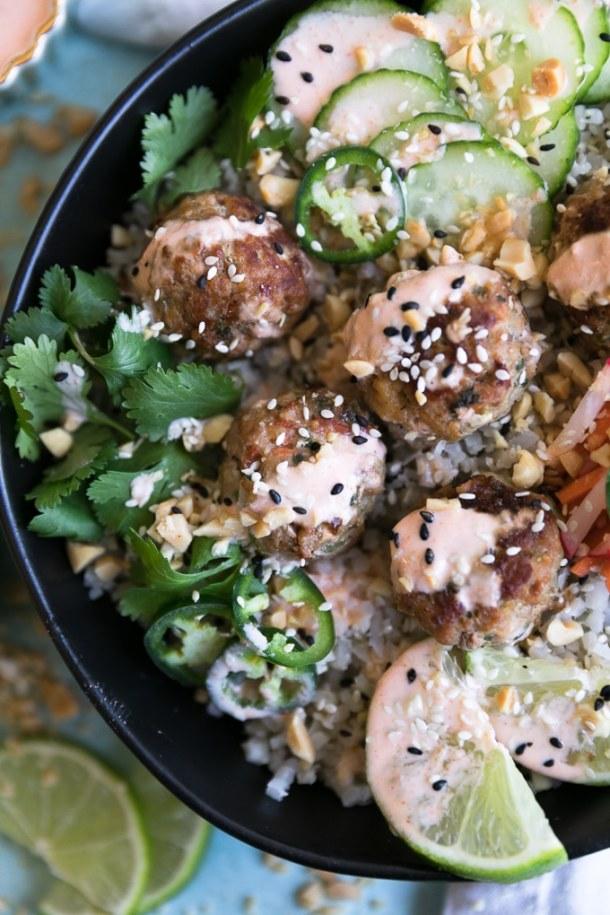 Banh Mi Meatball Cauliflower Rice Bowls