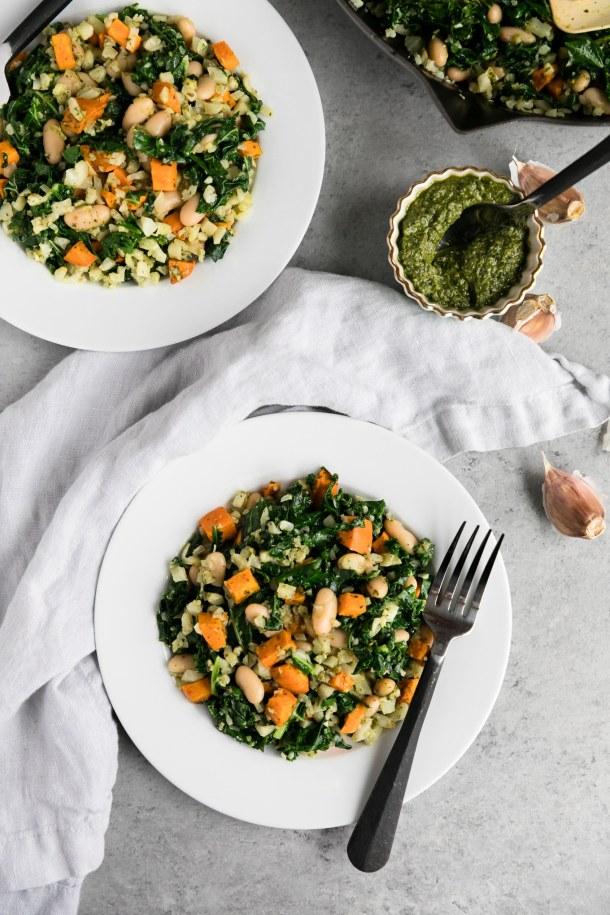 Kale Sweet Potato White Bean Pesto Skillet