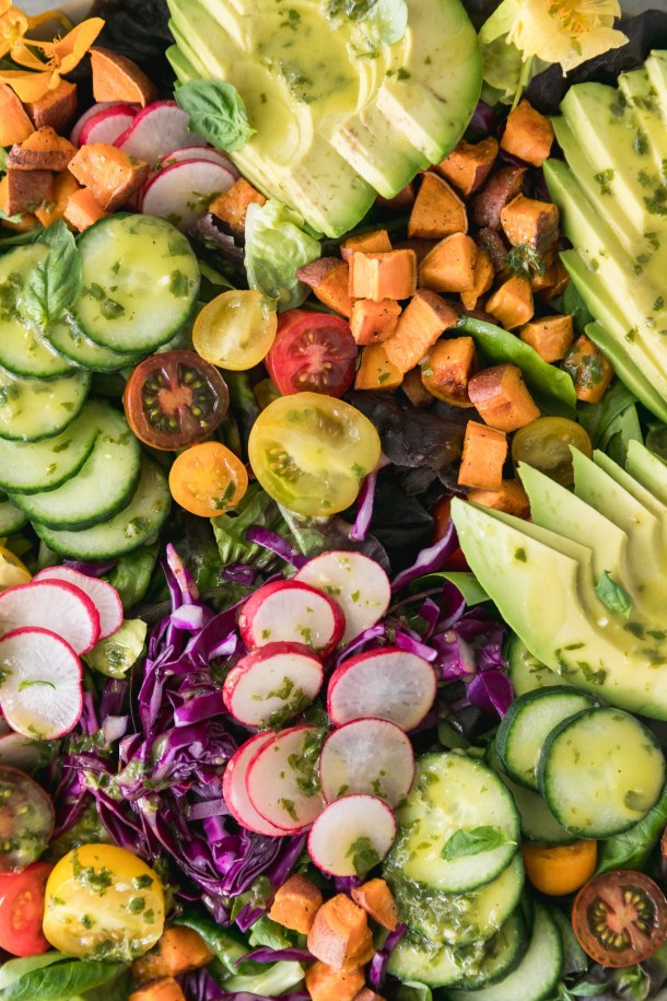 Super close up shot of cucumbers, tomatoes, sliced radishes, red cabbage, sliced avocado, and fresh basil