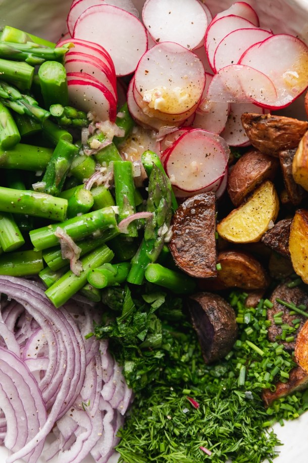 Close up shot of piles of asparagus, thinly sliced red onion, fresh herbs, crispy roasted portages, and thinly sliced radishes all drizzled in a lemon vinaigrette