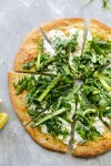 Burrata Pizza with Shaved Asparagus Arugula Salad
