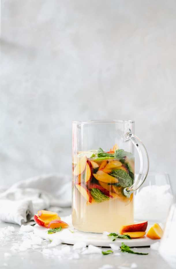 Shot of a peach elderflower gin pitcher cocktail