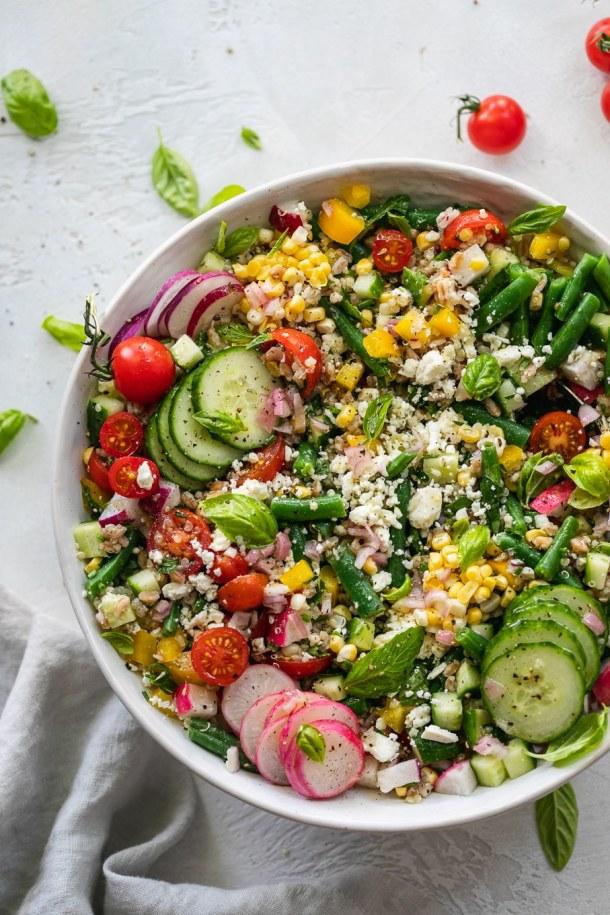 Overhead shot of a colorful grain salad