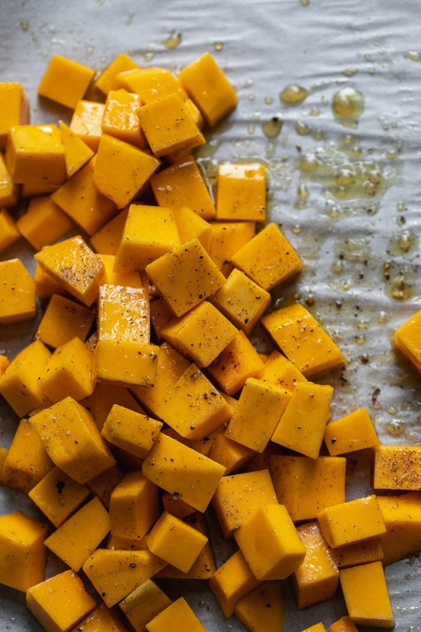 Overhead close up shot of butternut squash before roasting