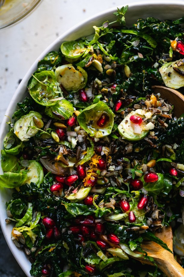 Super close up shot of a bowl of wild rice salad with brussels, kale, and pomegranate
