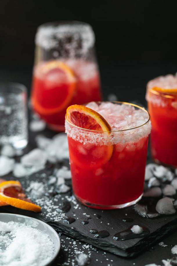 Close up shot of a cocktail with a blood orange slice