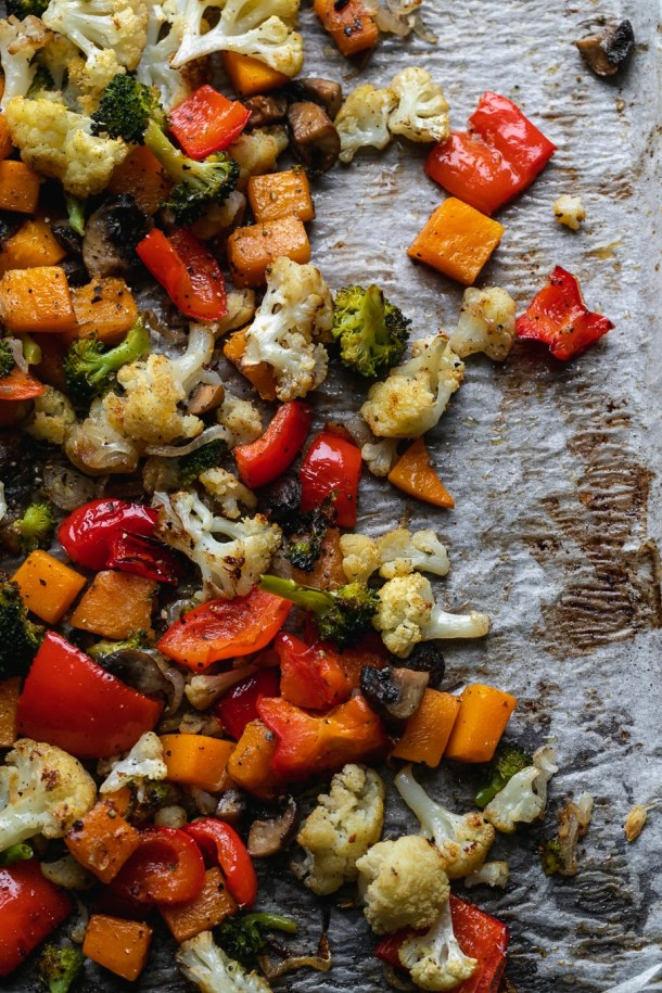 Overhead shot of roasted veggies on a sheet pan