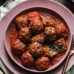 Overhead shot of meatballs in tomato sauce