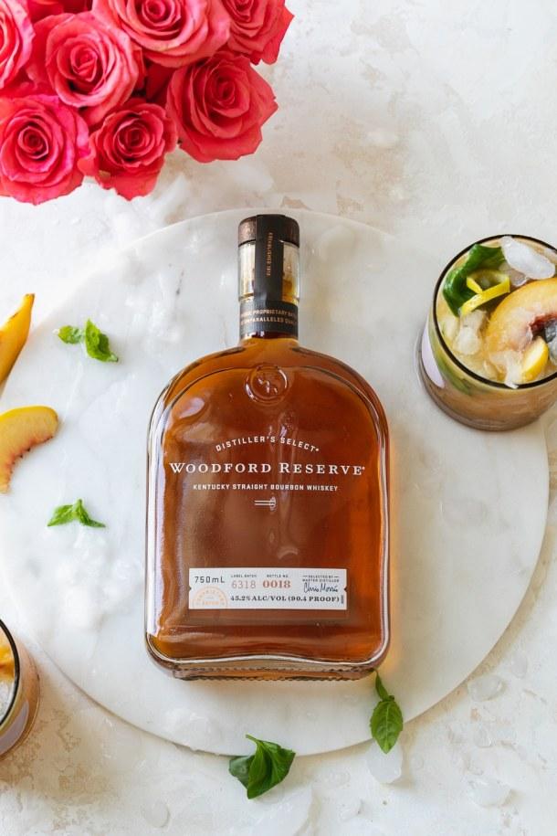 Overhead shot of a bottle of Woodford Reserve bourbon
