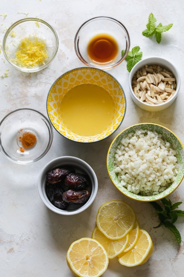 Overhead shot of bowls filled with smoothie ingredients