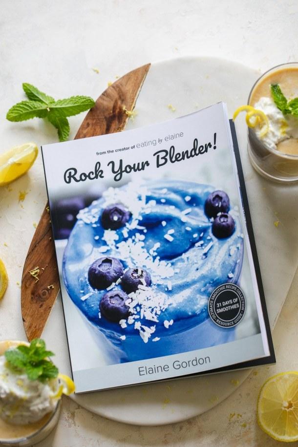 Overhead shot of smoothie cookbook