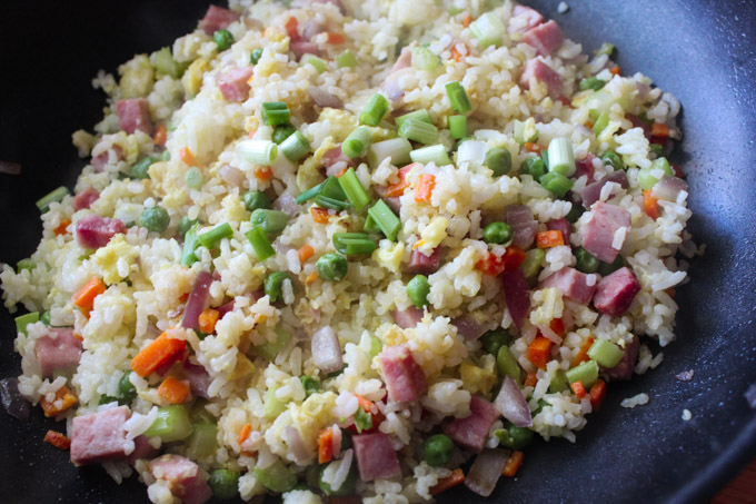 Ham Fried Rice in a Pan