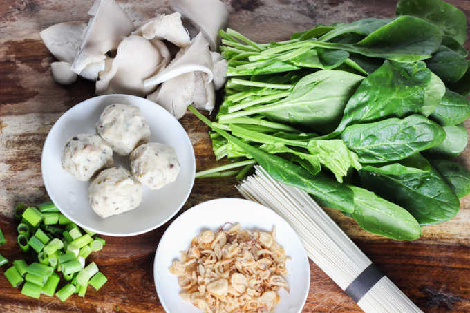 Spnach and Mushroom Noodle Ingredient