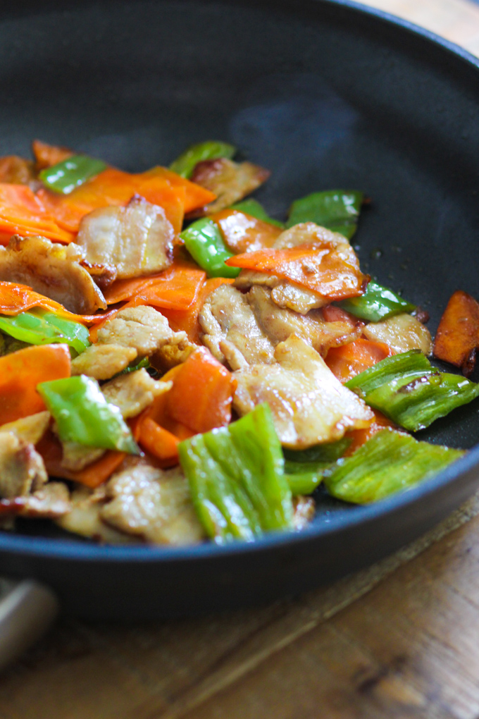 Stir fry pork belly with carrot