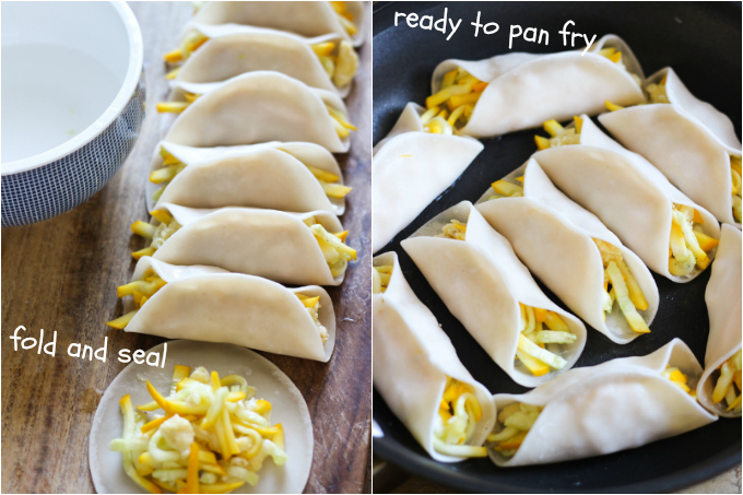 zucchini potstickers step two