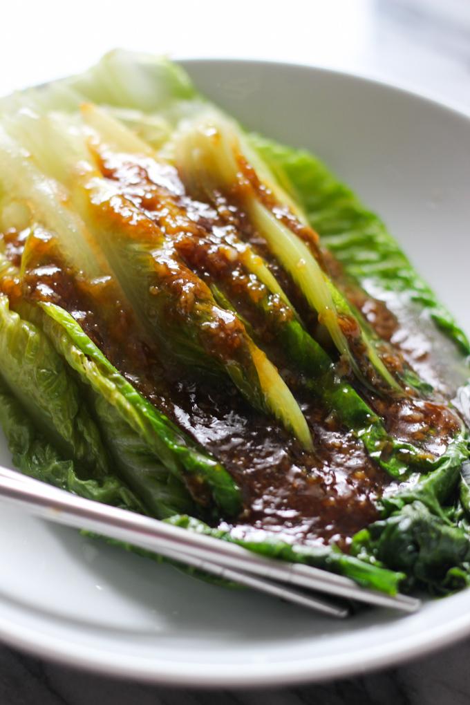 garlic sauce romaine lettuce feature