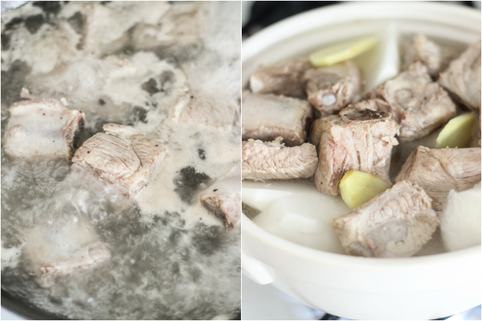 Pork rib soup with daikon step one