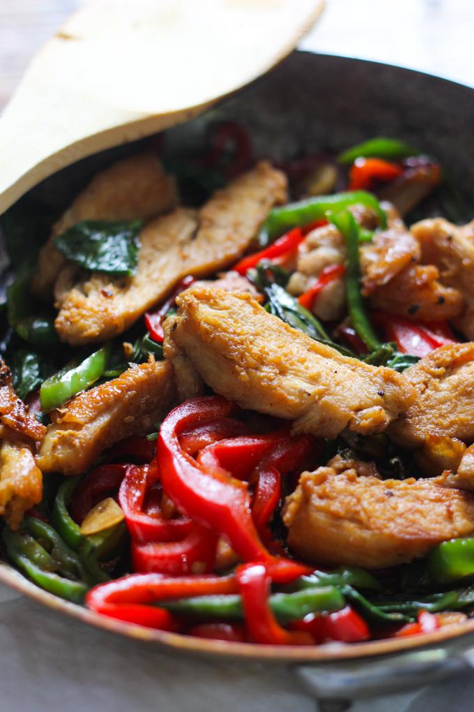 Thai basil chicken in pan