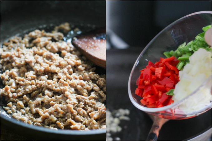 Thai Basil Minced Pork Step One