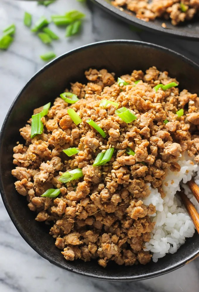 Ginger Minced Pork Rice Bowl