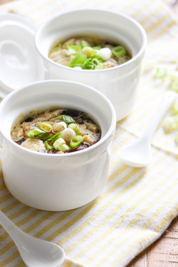 Steamed Egg with Baby Shrimp and Mushroom