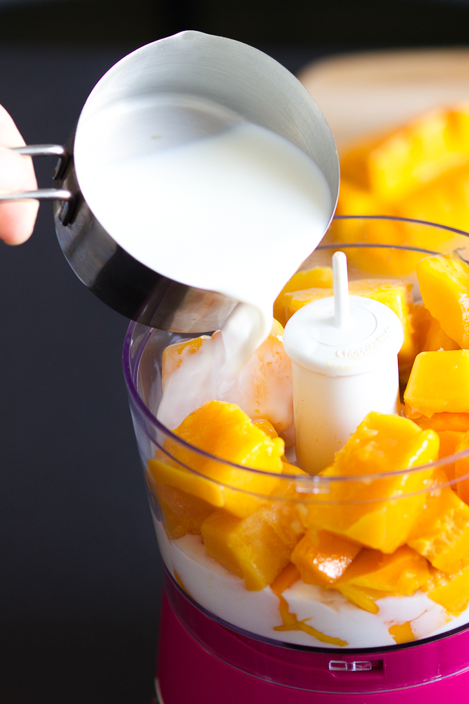 Add milk to Mango Smoothie