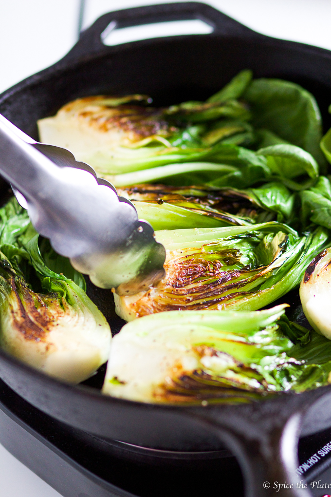 Cast Iron Grilled Bok Choy