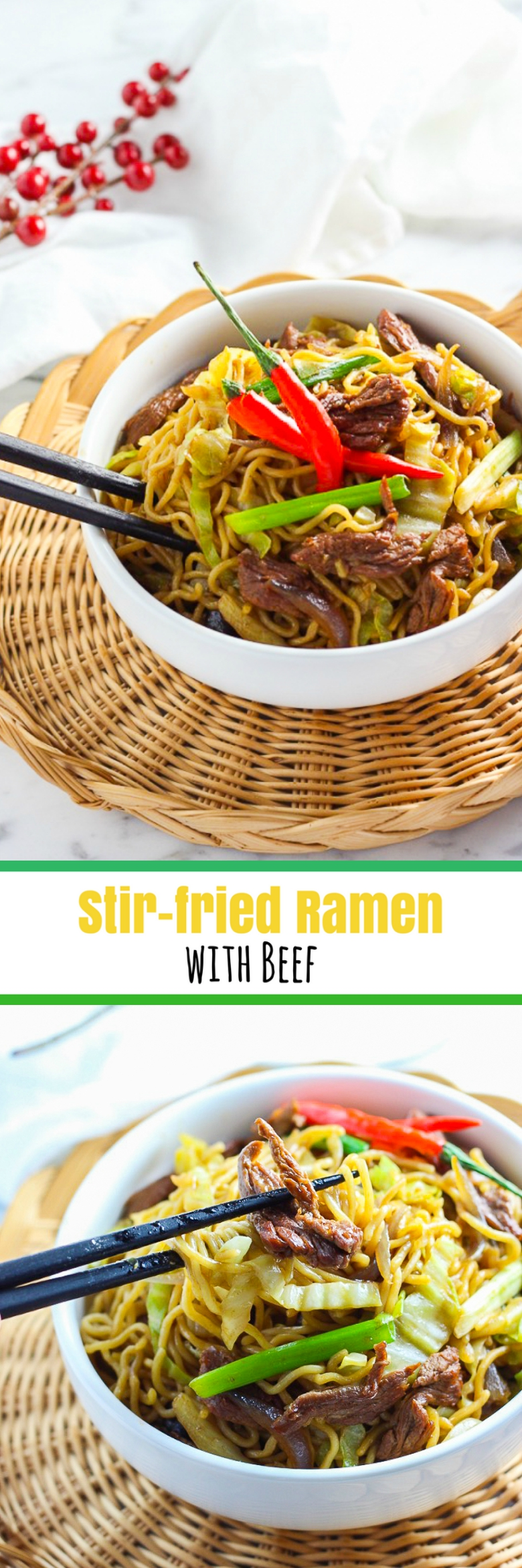 Stir-fried Ramen With Beef for Pinterest