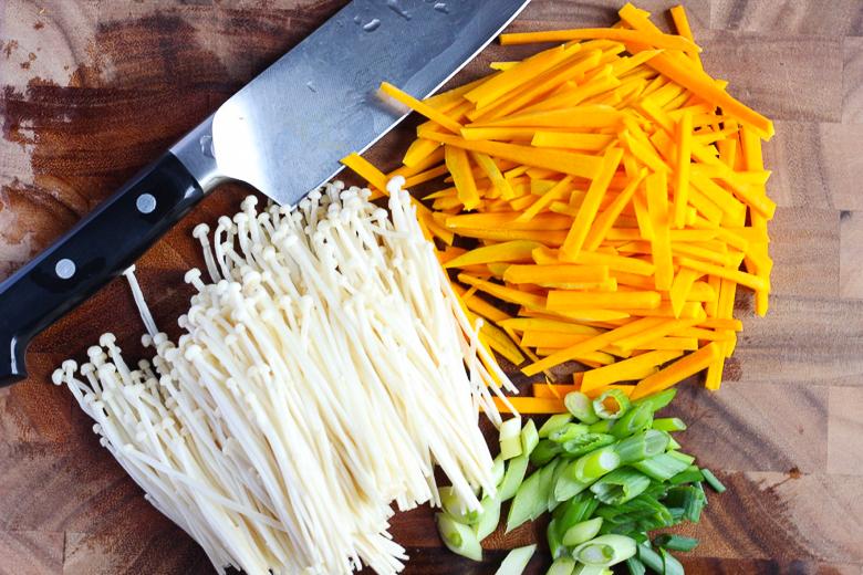 10-minute Pumpkin and Enoki Mushroom Salad-Ingredients