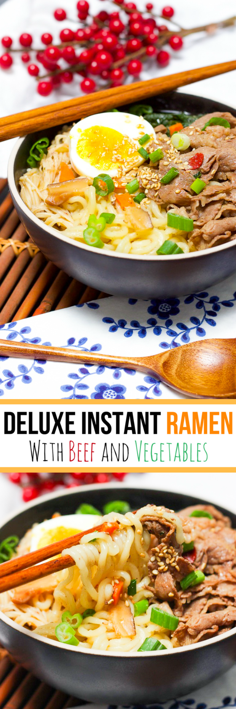 Deluxe Instant Ramen With Beef and Vegetables for Pinterest